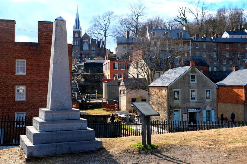 View of St. Peter's Catholic Church and abolitionist John Brown's monument in Harpers Ferry, WV.
